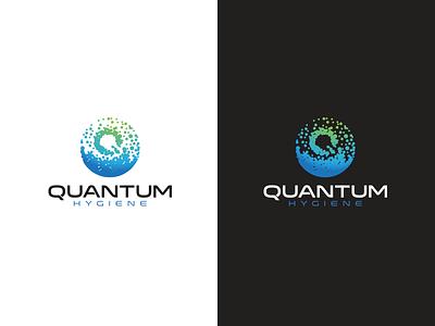 Quantum Hygiene Final bubble typography type vector green eco service quantum logo hygiene water drop cleaning design final clean blue atom