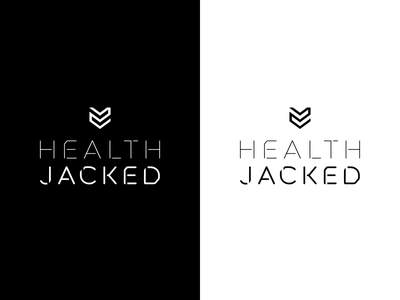Health Jacked Final logo brand abstract shield jacked health monochrome white black typography type custom approved