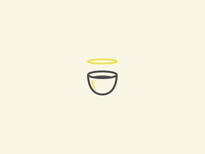 Drink Heaven iconic simplicity simple vector graphic idea design yellow icon mark logo cup drink halo heaven