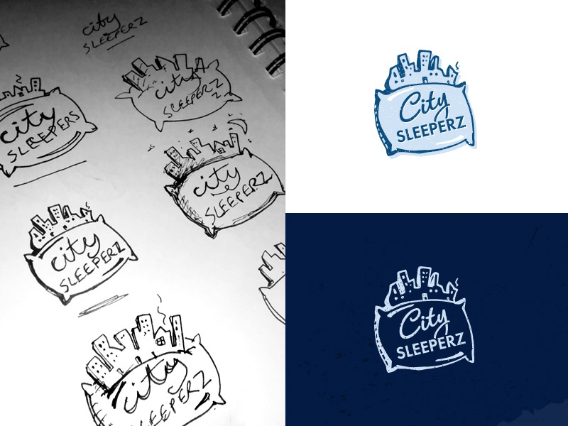 City Sleeperz concept idea sketch typography type graphic design icon blue identity brand logo night pillow sleep city