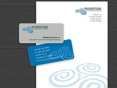 Riverstone Stationary organic swirl watermark stones stone health naturopath charcoal grey blue stationary design logo riverstone