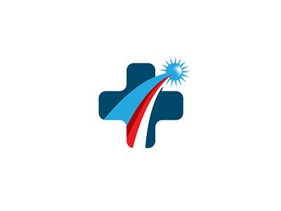 Health Patriot star blue white red recover mark design graphic healthcare brand concept logo medicine medical cross patriot health