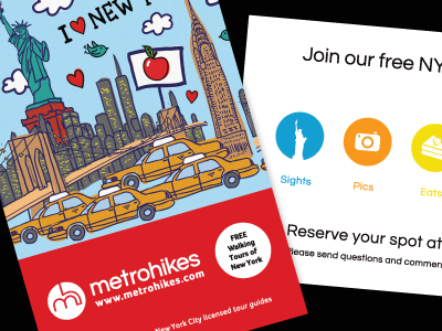 Metrohikes Flyer new york city walk tour skyline logo red blue design mark