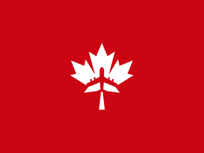 Fly Canada tourism airline mapleleaf logo aeroplane buy sale concept design plane air fly