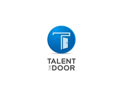 The Talent Door talent search networking tool collaboration door song artist record blue design graphic logo mark