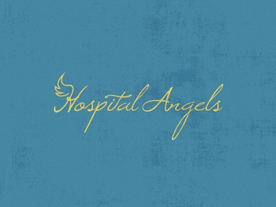 Hospital Angels care nurture angel hospital yellow blue wing logo gift health service design