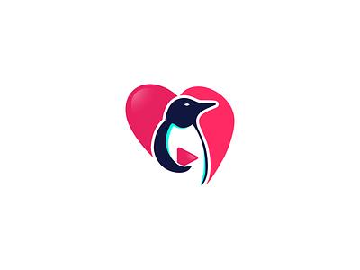 Play Penguin concept mark logo brand media video graphic icon modern bright play heart penguin