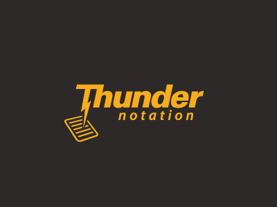 Thunder Notation thunder notation notes document charcoal yellow bolt lightning dictate design logo flash