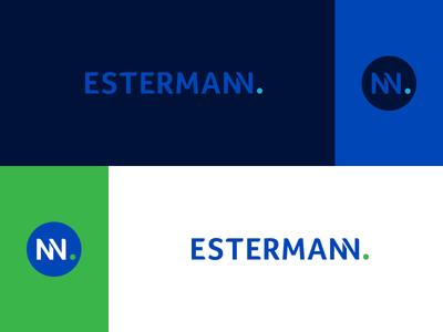 Estermann typography type vector graphic mark icon monogram design identity green blue brand identity presentation concept logo branding brand