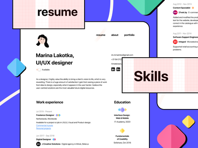 Minimal Figma CV/Resume Freebie first shot vector flat minimal ux ui web design figma template cv resume