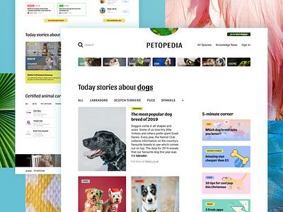Petopedia: website about our beloved pets web portal website colorful figma desktop animals pets ui homepage news