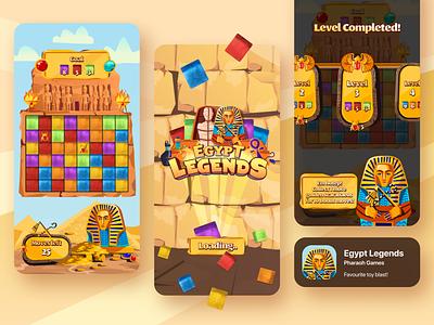 Egypt Legends: Toy Blast Game scarabaeus pyramids desert orange pharaoh match 3 cubes egyptian egypt levels splash screen design illustration figma mobile play ui game toy blast