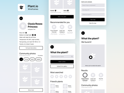 Plants.io – Houseplants tips, community and more plants high-fidelity interface care growing recognition app mobile app design wireframes ux mobile figma