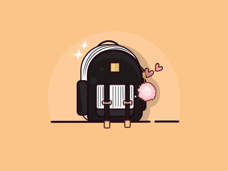my cute school bag art graphics design illustrator logo icon flat design vector illustration