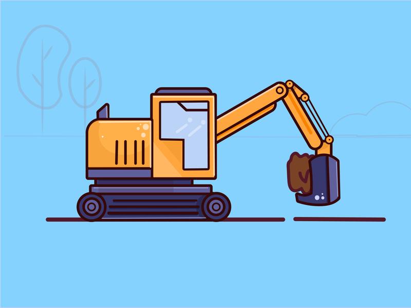 excavator machine art typography graphics design illustrator logo icon flat design vector illustration