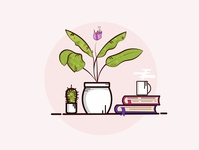 plants , books and coffe