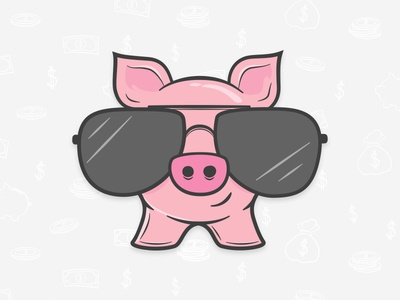 Theme Bargains Mascot dude mascot illustration ray ban sunglasses cool pork pig piggy bank