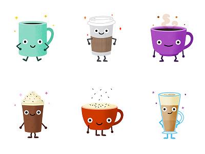 Coffee Avatars paper cup drink illustration latte avatar character mug caffeine coffee