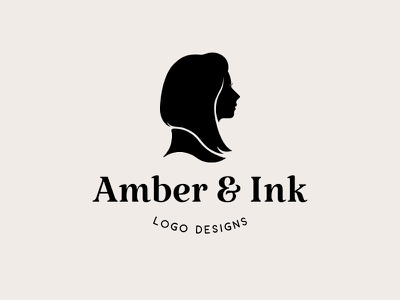 Personal brand hair amber and ink self portrait personal portrait logo woman silhouette