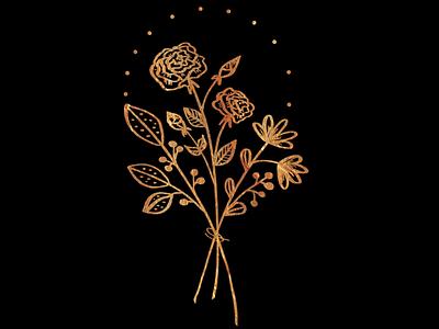 Golden flowers doodle flowers botanical procreate