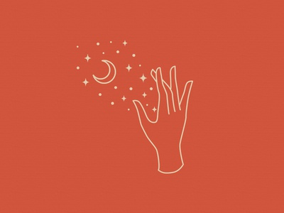 Hand and Space hands touch fingers moon stars illustration feminine icon lineart hand