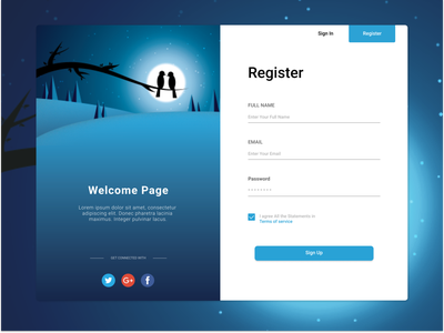 Register Page Website blue mock-up mock up mockup ui design website illustration illustrator register page register form ui  ux ui design uiux uidesign web design webdesign website design