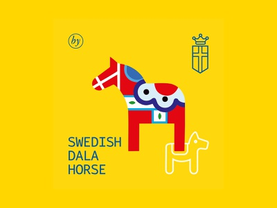 CoffeeHouse by George | 01 minimal illustration flat branding vector design dala horse graphicdesign color brand identity fika coffee sweden visual identity