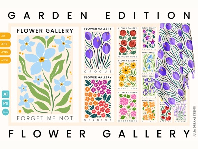Flower Gallery Garden Edition spring wall art print poster digital paper seamless pattern lavender water lily poppy crocus bluebell wild pansy snowdrop forget me not png commercial use summer floral vector flowers