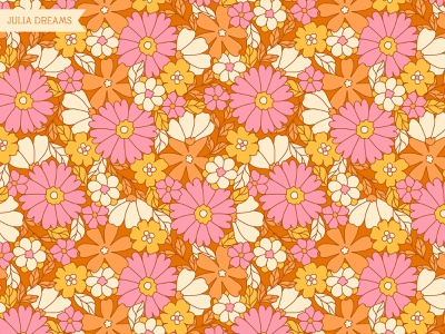 Exclusive Seamless Pattern ( 70's style ) exclusive pattern ooak commercial use orange bright pattern branding wrapping paper fabric floral illustration flower design vector pink flowers digital paper seamless patterns flower pattern flowers 70s style 70s