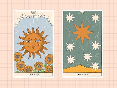 "The Sun and The Moon from ""Magic of Tarot Collection"" card creator graphic design retro vintage star logo flower floral witch moon sun minor arcana major arcana cards tarot branding illustration design vector"