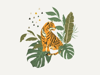 Little Tiger logos cat leo leaves leaf floral flower tropic safari botanical cute animals animal tiger animation web vector logo design illustration
