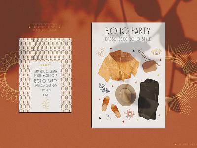 Boho Party boho dress boho chic wedding invitation card seamless pattern clothing wear invitation typography pattern branding flowers fabric cute vector logos logo illustration design boho