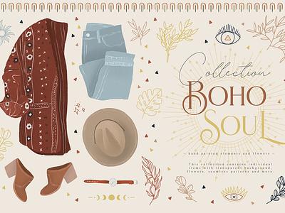 Boho Soul Collection typography icon seamless pattern branding jacket wedding pattern flower floral fabric botanical vector logos logo illustration design clothing outfit boho outfit boho