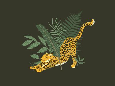 Leopard in Jungle floral flower leaves tiger cat leaf wedding pattern branding animals safari botanical vector logos logo illustration design leo leopard jungle