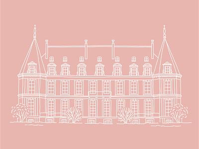 French Castle vector leaves illustration flower floral logos logo typography branding design castles pink line wedding card house illustration wedding french home house castle