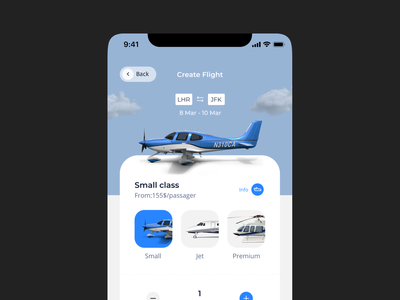 Flight Booking Service Application 🛬 jet design mobile app travel transfer rental app renting service booking astronaut app airplane aircraft ux