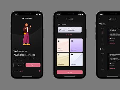 Psychology app time booking psych calendar psychics design ui ux mobile app mobile app hospital medical doctor psychology
