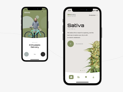 Weliwery - weed delivery service. drone service ui ux design coffee shops c2c courier ganja splash screen mobile app services delivery weed marijuana