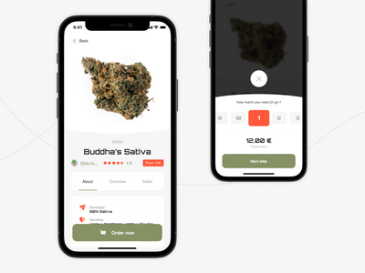 Weliwery - weed delivery service. additional spec page card city delivery c2c courier sativa marijuana ganja weed booking app service mobile app design ux ui