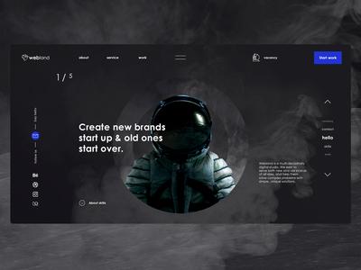 redesign | webland site index home slider space man astronaut land redisign space company branding it website web icon ux ui logo design