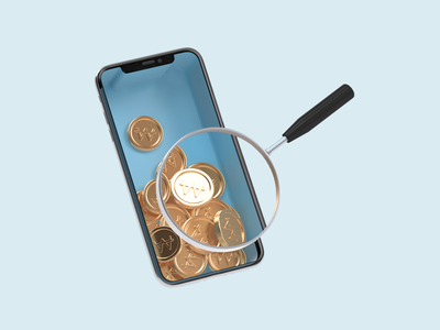 iPhone with coins