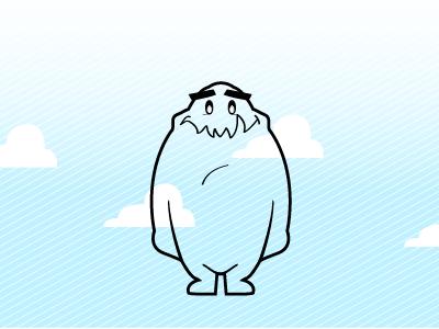 Nori Revisioned character design cartoon creature clouds blue texture cute nori monster