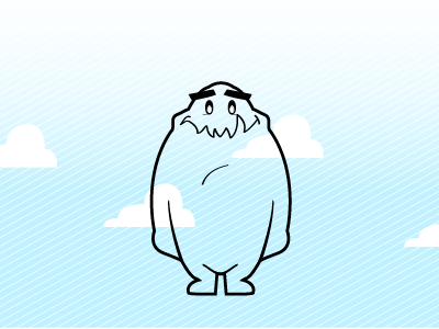 Nori Revisioned  character design cartoon creature clouds blue texture cute nori monster