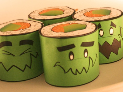 Nori Sushi Stackers art toy character design paper craft toy sushi expressions kaiju