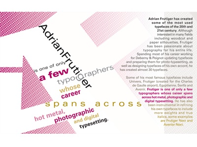 Adrian Frutiger univers frutiger magenta typography typesetting blend type