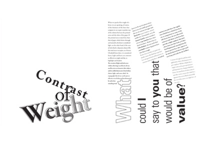 Contrast of Weight Spread body copy halftone simple weight type publication