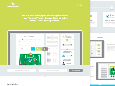 Landing Page web design fantasy football fix fpl green landing page macbook
