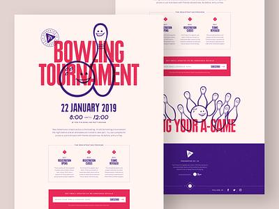 Bowling Tournament web design illustration purple red landing page tournament bowling ball bowling pin bowling branding