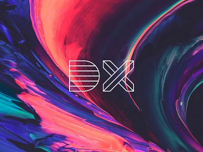 DX purple mark x d outline space lava paint design logo branding
