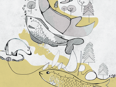 Alaska alaska illustration fish bear texture yellow